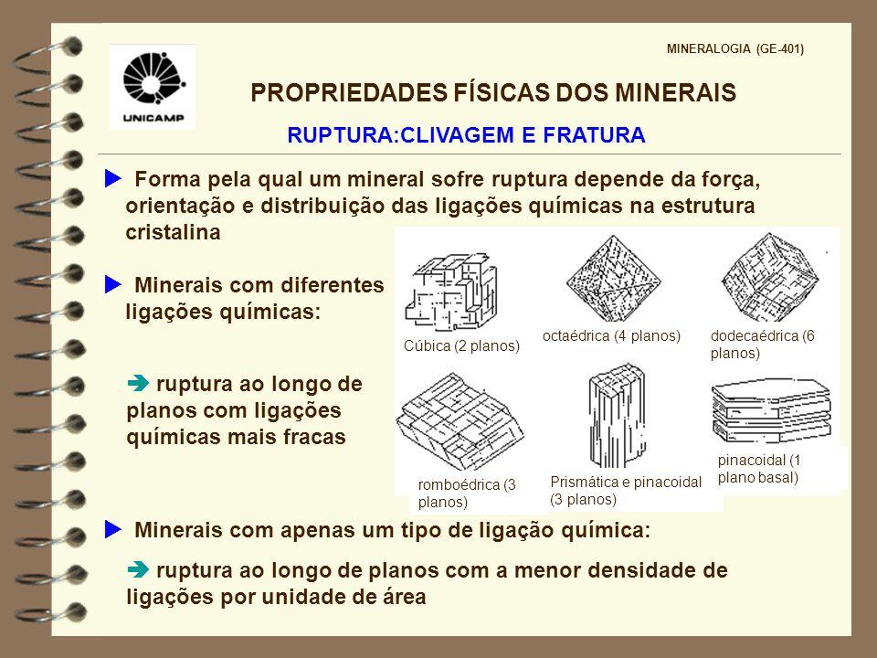 PROPRIEDADES FÍSICAS DOS MINERAIS MINERALOGIA (GE-401) DUREZA Resistência da superfície de um mineral ao ser riscada por outro mineral ou material Causas da variação da dureza nos minerais: tipos de ligações químicas raio iônico F= Q 1.Q 2 /d 2 DENSIDADE Causas da variação da densidade nos minerais: massa atômica dos principais elementos constituintes do mineral distância inter-iônica = comprimento da ligação ambiente de formação do mineral
