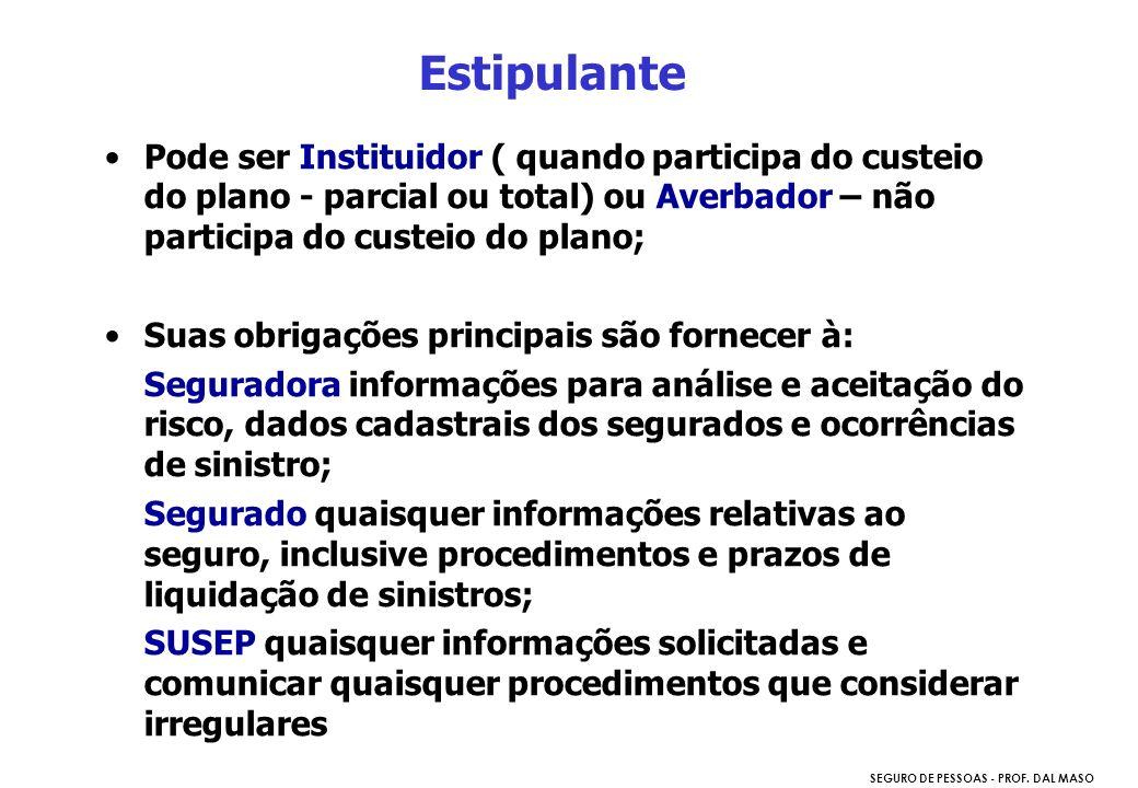 SEGURO DE PESSOAS - PROF. DAL MASO Estipulante Pode ser Instituidor ( quando participa do custeio do plano - parcial ou total) ou Averbador – não part