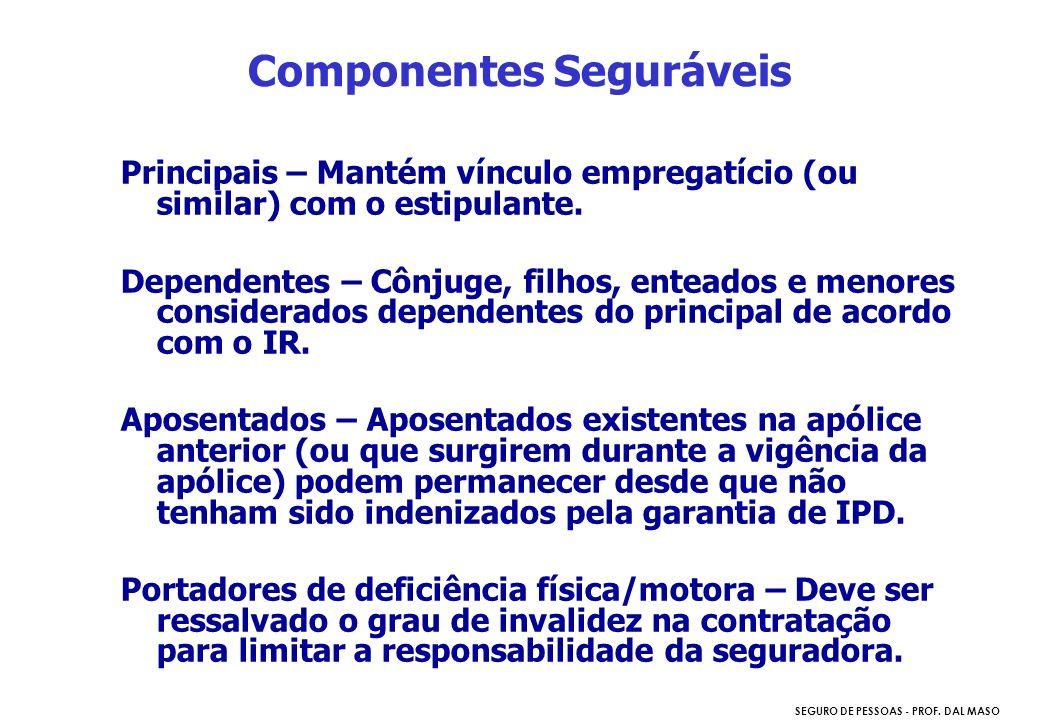 SEGURO DE PESSOAS - PROF. DAL MASO Principais – Mantém vínculo empregatício (ou similar) com o estipulante. Dependentes – Cônjuge, filhos, enteados e