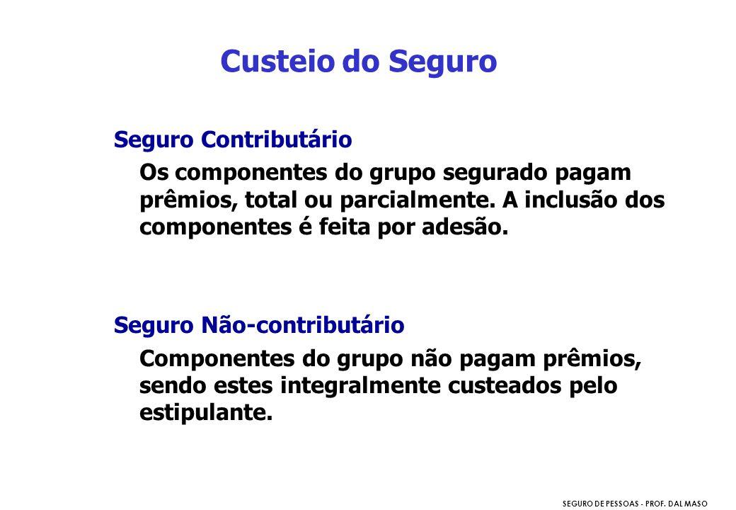 SEGURO DE PESSOAS - PROF. DAL MASO Seguro Contributário Os componentes do grupo segurado pagam prêmios, total ou parcialmente. A inclusão dos componen