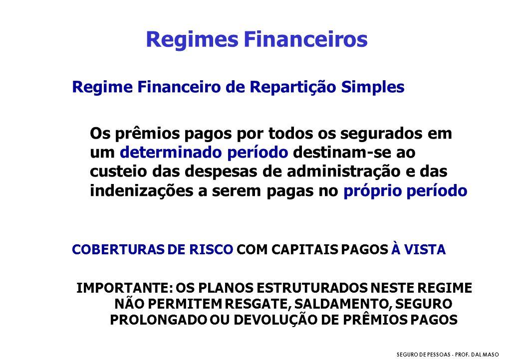 SEGURO DE PESSOAS - PROF. DAL MASO Regime Financeiro de Repartição Simples Os prêmios pagos por todos os segurados em um determinado período destinam-