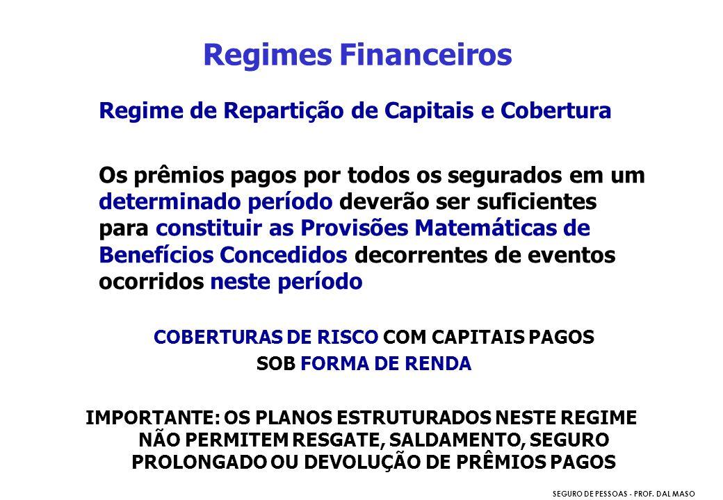 SEGURO DE PESSOAS - PROF. DAL MASO Regime de Repartição de Capitais e Cobertura Os prêmios pagos por todos os segurados em um determinado período deve