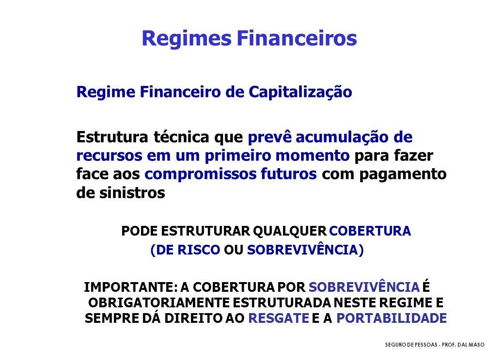 SEGURO DE PESSOAS - PROF. DAL MASO Regime Financeiro de Capitalização Estrutura técnica que prevê acumulação de recursos em um primeiro momento para f