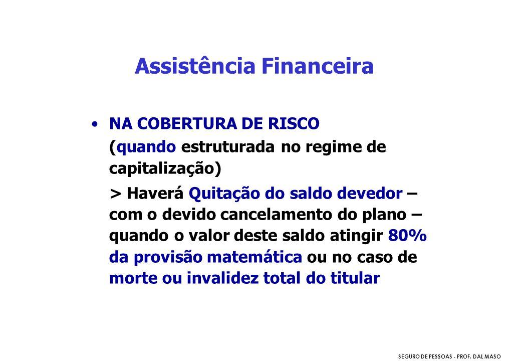 SEGURO DE PESSOAS - PROF. DAL MASO NA COBERTURA DE RISCO (quando estruturada no regime de capitalização) > Haverá Quitação do saldo devedor – com o de