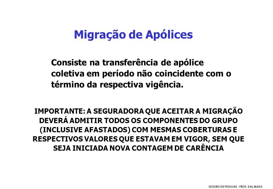 SEGURO DE PESSOAS - PROF. DAL MASO Consiste na transferência de apólice coletiva em período não coincidente com o término da respectiva vigência. Migr