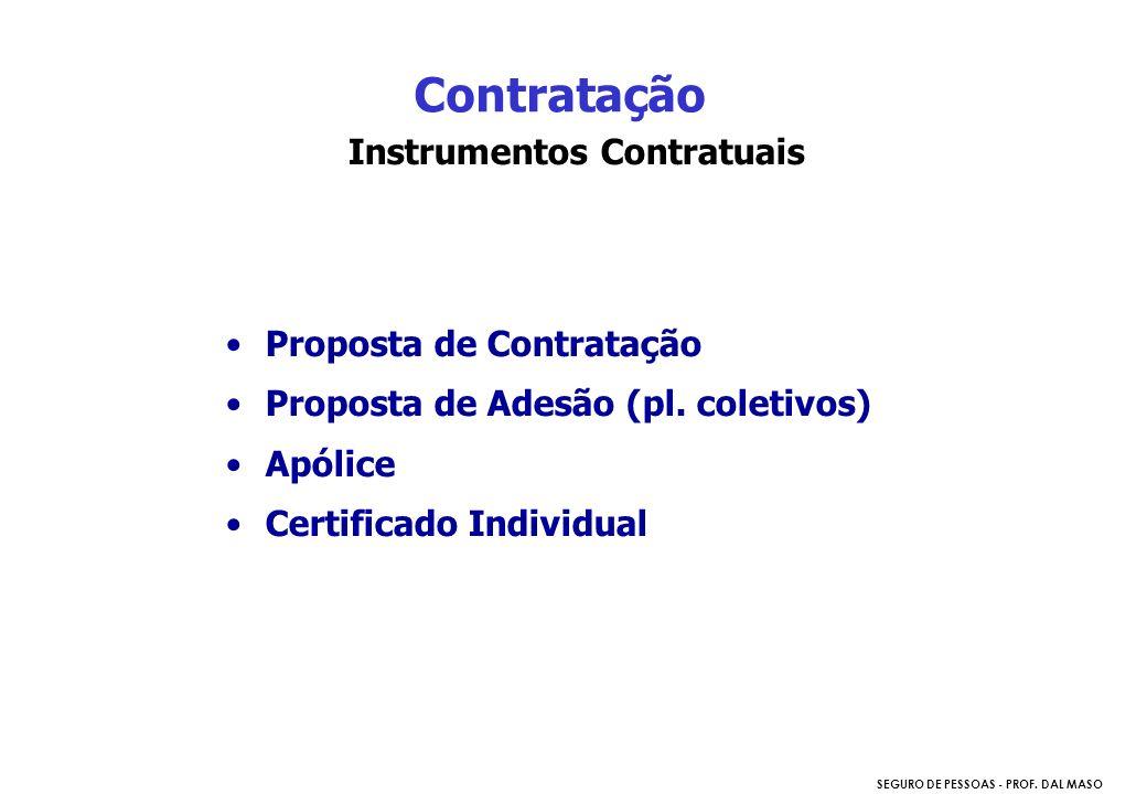 SEGURO DE PESSOAS - PROF. DAL MASO Instrumentos Contratuais Proposta de Contratação Proposta de Adesão (pl. coletivos) Apólice Certificado Individual