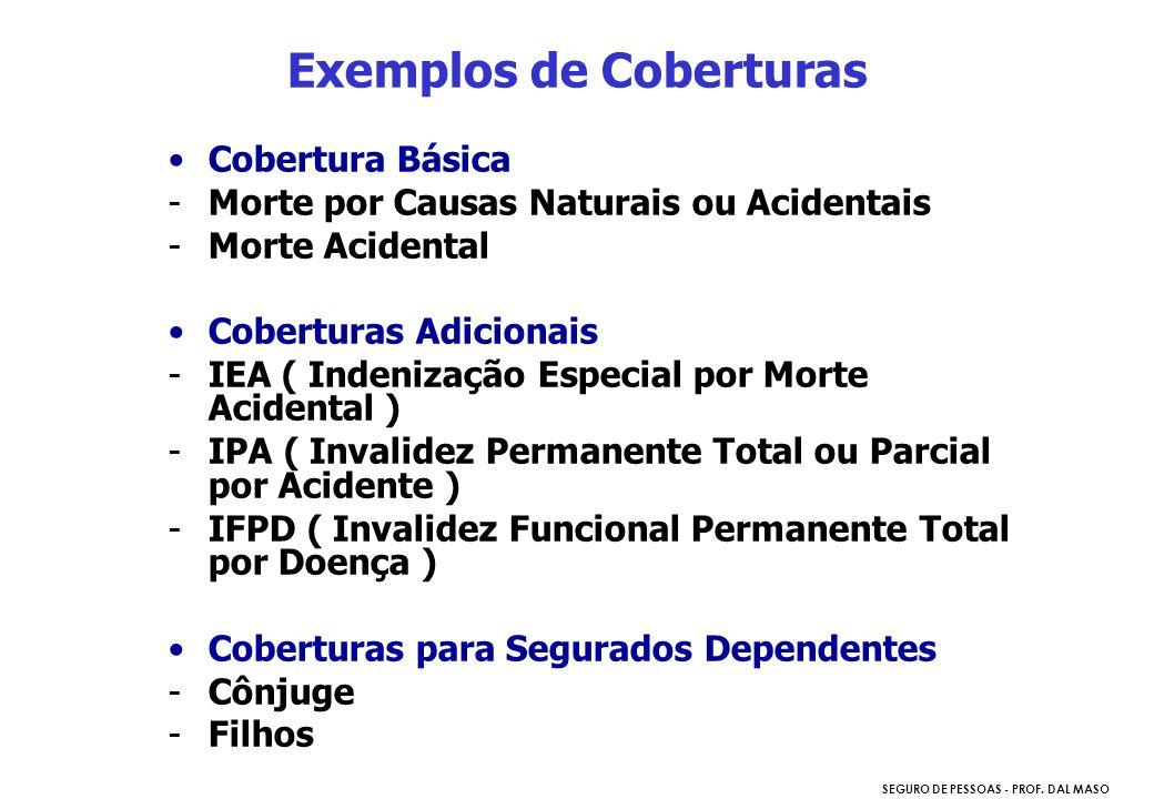 SEGURO DE PESSOAS - PROF. DAL MASO Cobertura Básica -Morte por Causas Naturais ou Acidentais -Morte Acidental Coberturas Adicionais -IEA ( Indenização