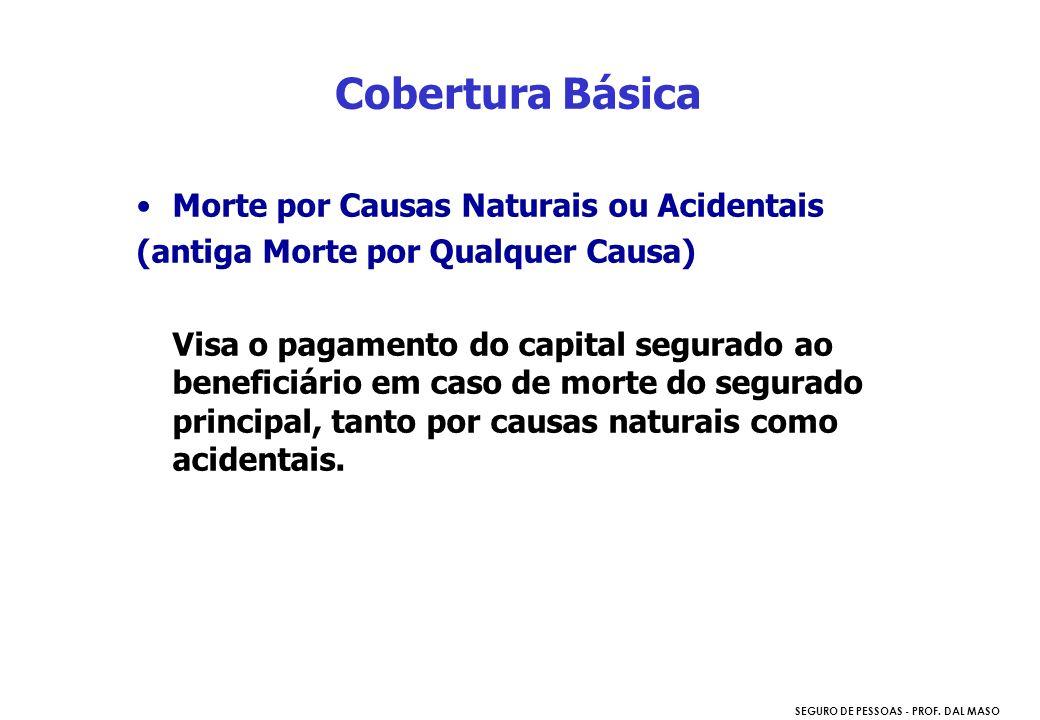 SEGURO DE PESSOAS - PROF. DAL MASO Morte por Causas Naturais ou Acidentais (antiga Morte por Qualquer Causa) Visa o pagamento do capital segurado ao b