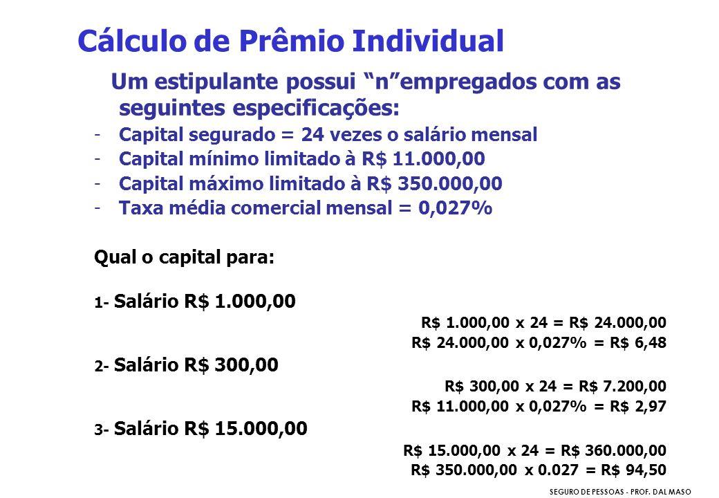 SEGURO DE PESSOAS - PROF. DAL MASO Um estipulante possui nempregados com as seguintes especificações: -Capital segurado = 24 vezes o salário mensal -C