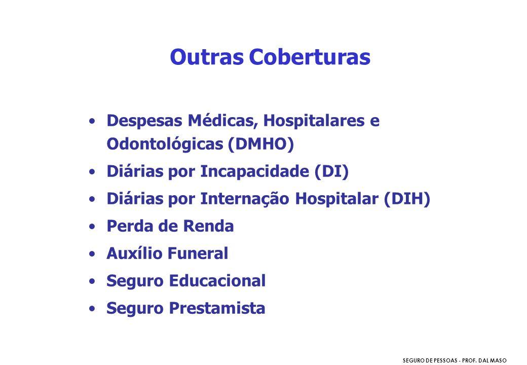 SEGURO DE PESSOAS - PROF. DAL MASO Despesas Médicas, Hospitalares e Odontológicas (DMHO) Diárias por Incapacidade (DI) Diárias por Internação Hospital
