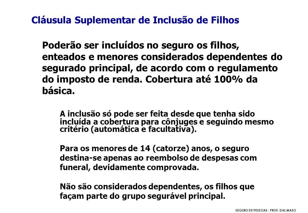 SEGURO DE PESSOAS - PROF. DAL MASO Cláusula Suplementar de Inclusão de Filhos Poderão ser incluídos no seguro os filhos, enteados e menores considerad