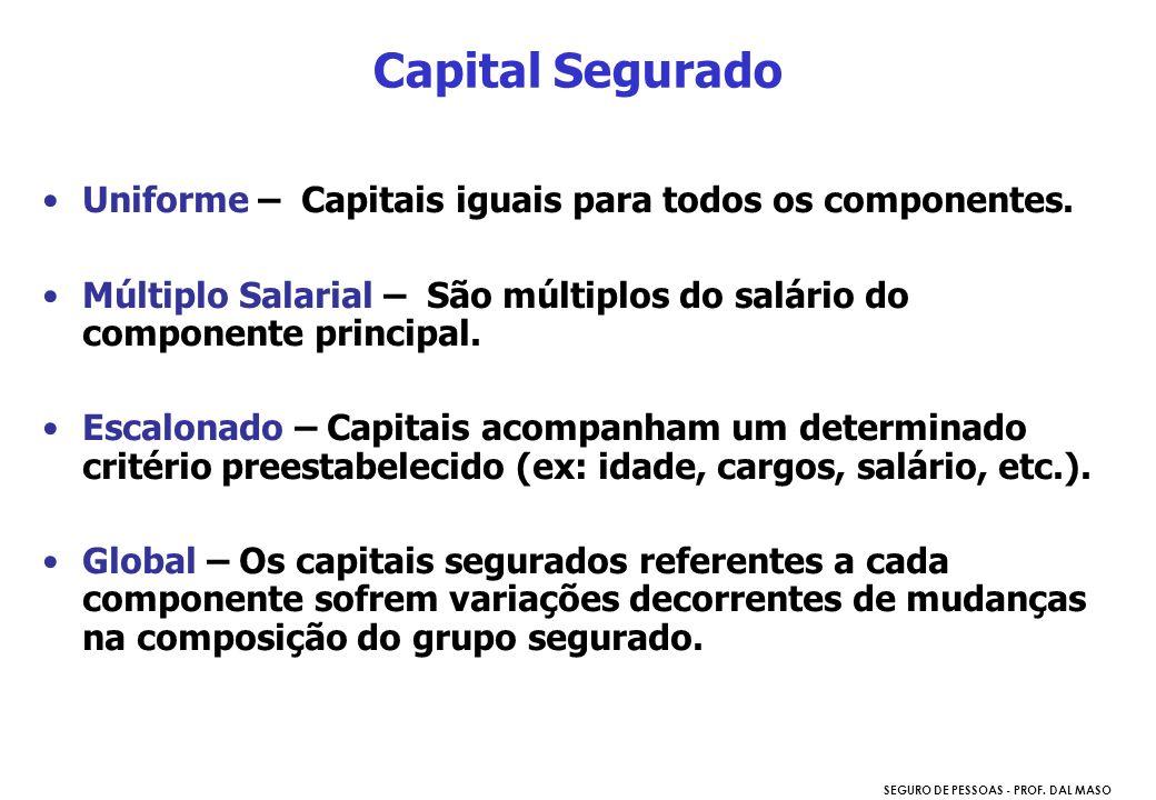 SEGURO DE PESSOAS - PROF. DAL MASO Uniforme – Capitais iguais para todos os componentes. Múltiplo Salarial – São múltiplos do salário do componente pr