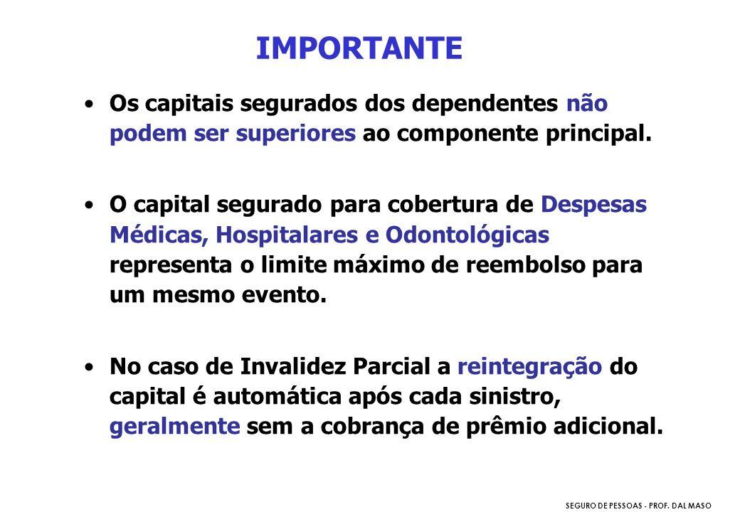 SEGURO DE PESSOAS - PROF. DAL MASO IMPORTANTE Os capitais segurados dos dependentes não podem ser superiores ao componente principal. O capital segura