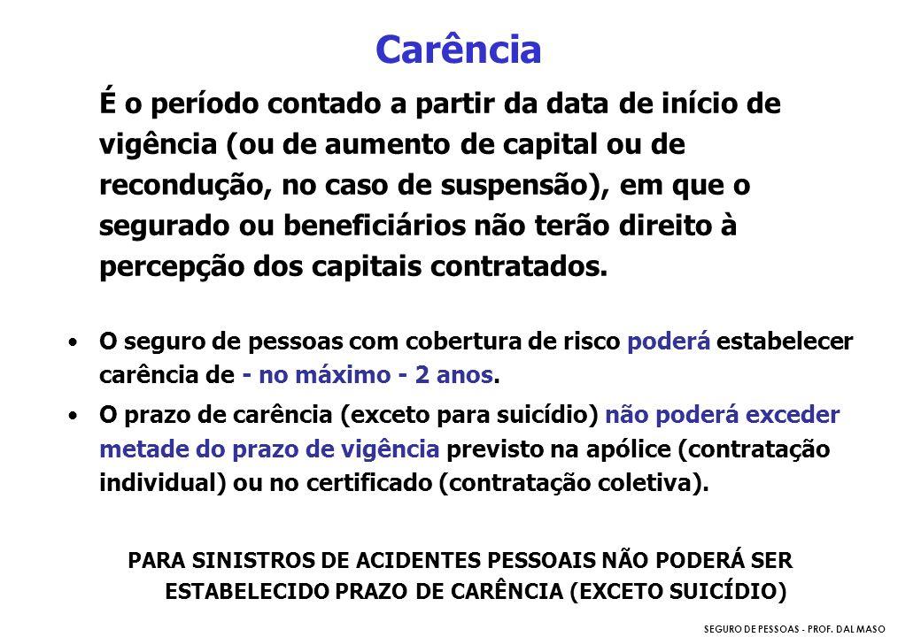 SEGURO DE PESSOAS - PROF. DAL MASO É o período contado a partir da data de início de vigência (ou de aumento de capital ou de recondução, no caso de s