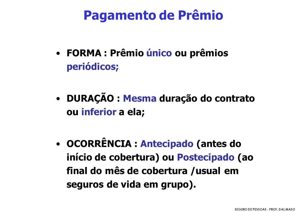 SEGURO DE PESSOAS - PROF. DAL MASO FORMA : Prêmio único ou prêmios periódicos; DURAÇÃO : Mesma duração do contrato ou inferior a ela; OCORRÊNCIA : Ant