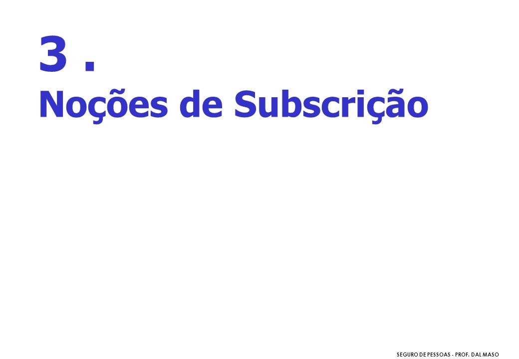 SEGURO DE PESSOAS - PROF. DAL MASO 3. Noções de Subscrição