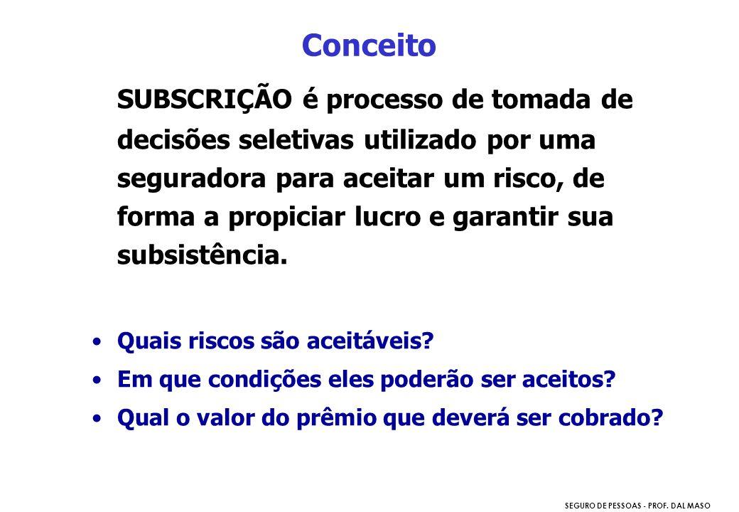 SEGURO DE PESSOAS - PROF. DAL MASO SUBSCRIÇÃO é processo de tomada de decisões seletivas utilizado por uma seguradora para aceitar um risco, de forma