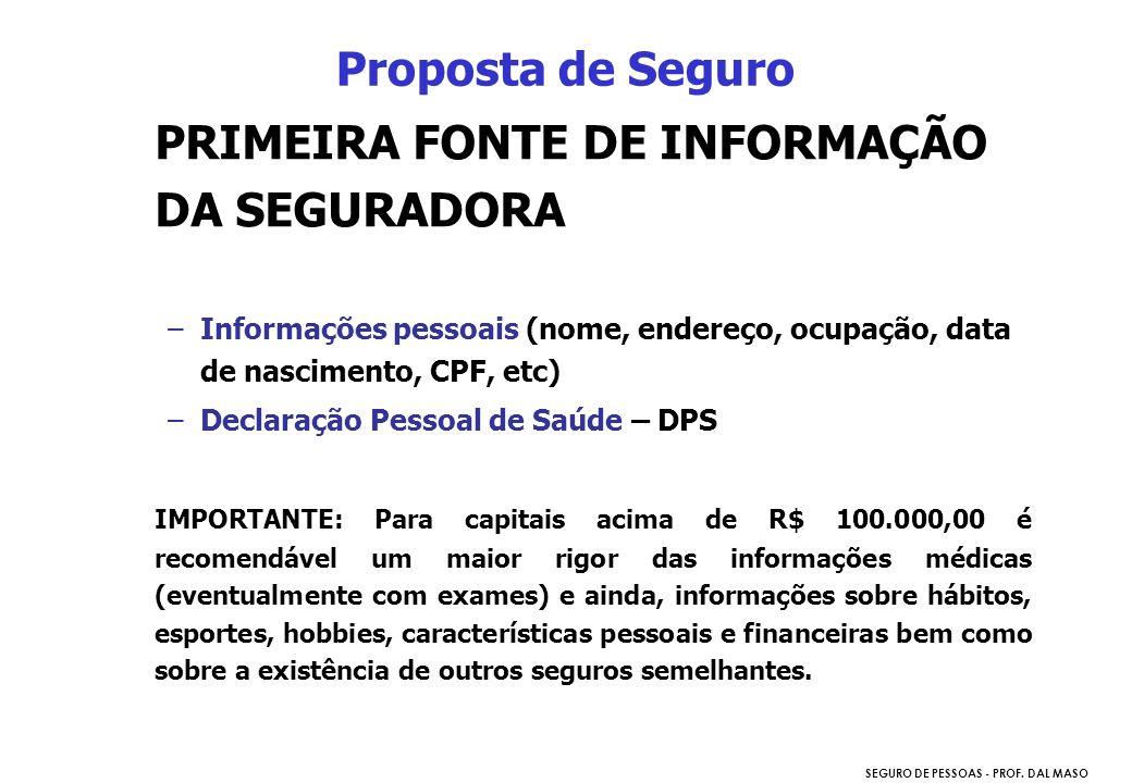 SEGURO DE PESSOAS - PROF. DAL MASO PRIMEIRA FONTE DE INFORMAÇÃO DA SEGURADORA –Informações pessoais (nome, endereço, ocupação, data de nascimento, CPF