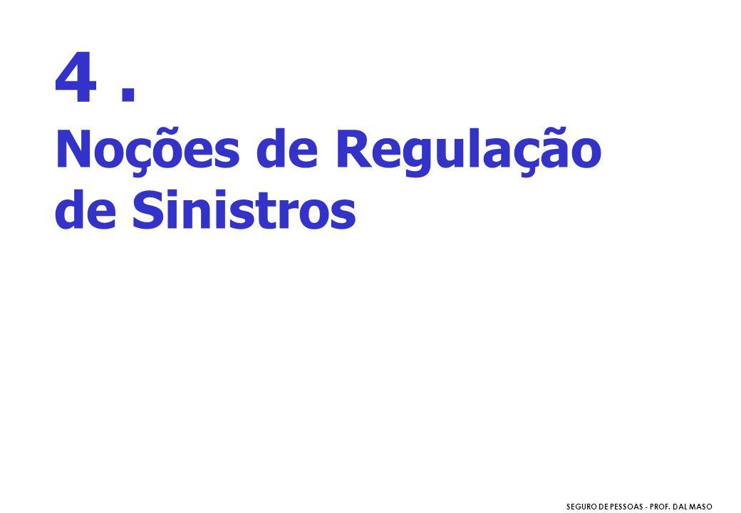 SEGURO DE PESSOAS - PROF. DAL MASO 4. Noções de Regulação de Sinistros