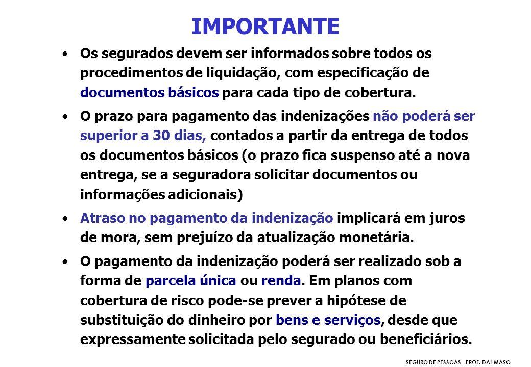SEGURO DE PESSOAS - PROF. DAL MASO Os segurados devem ser informados sobre todos os procedimentos de liquidação, com especificação de documentos básic