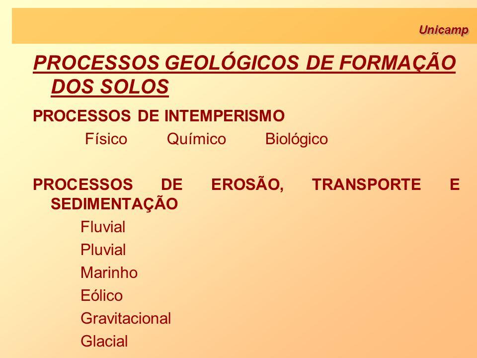 Unicamp PROCESSOS DE INTEMPERISMO Físico Químico Biológico PROCESSOS DE EROSÃO, TRANSPORTE E SEDIMENTAÇÃO Fluvial Pluvial Marinho Eólico Gravitacional