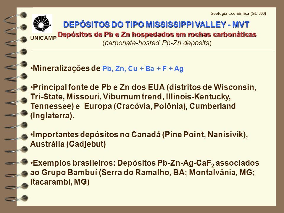 UNICAMP Geologia Econômica (GE-803) DEPÓSITOS DO TIPO MISSISSIPI VALLEY- MVT Mecanismos de deposição do minério (A) Transporte de metais e enxofre reduzido pelo mesmo fluido Decréscimo da temperatura Decréscimo da Pressão Mudanças no pH Diluição Interação com rochas hospedeiras (B) Transporte de metais e sulfato (ou espécies parcialmente oxidadas de enxofre) no mesmo fluido hidrotermal Redução do sulfato no sítio de deposição por metano/matéria orgânica (C) Mistura de fluidos Metais transportados por um fluido com baixo conteúdo de enxofre reduzido e mistura deste fluido com fontes locais de enxofre reduzido.