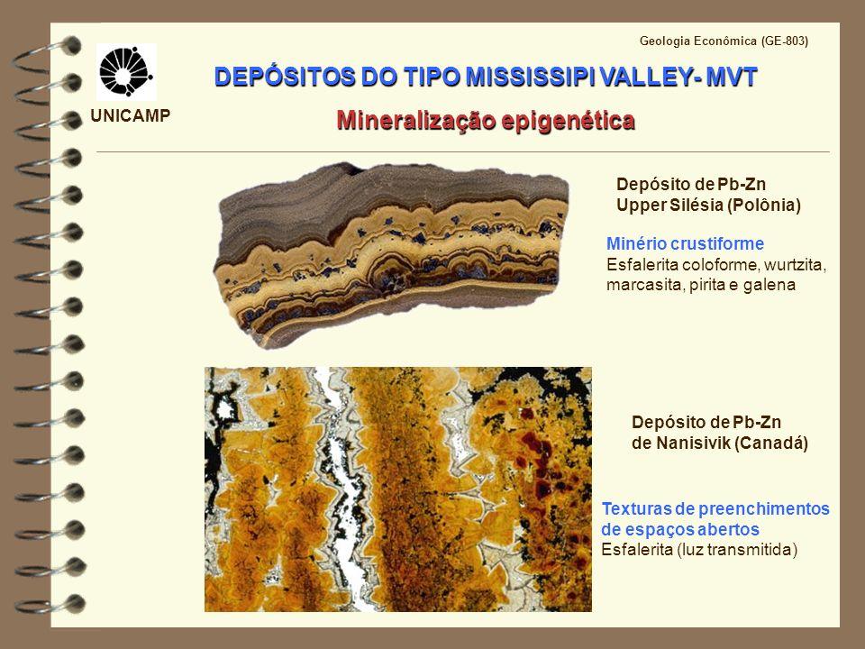 UNICAMP Geologia Econômica (GE-803) DEPÓSITOS DO TIPO MISSISSIPI VALLEY- MVT Mineralização epigenética Depósito de Pb-Zn de Nanisivik (Canadá) Textura