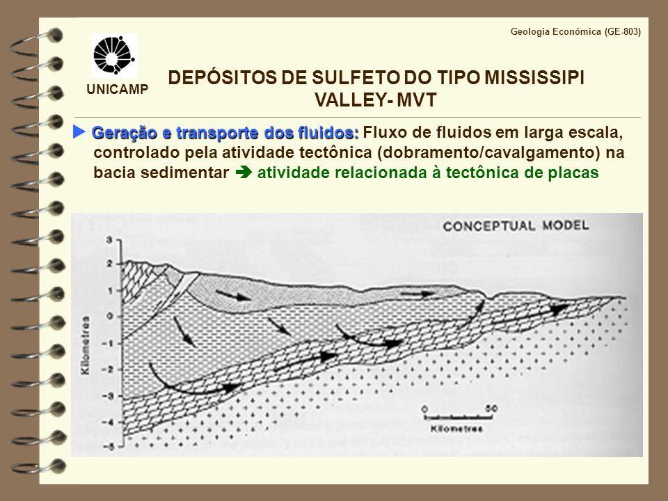 UNICAMP Geologia Econômica (GE-803) DEPÓSITOS DE SULFETO DO TIPO MISSISSIPI VALLEY- MVT Geração e transporte dos fluidos: Geração e transporte dos flu