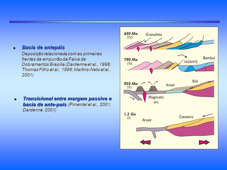 n Bacia de antepáis Deposição relacionada com as primeiras frentes de empurrão da Faixa de Dobramentos Brasília (Dardenne et al., 1998; Thomaz Filho e
