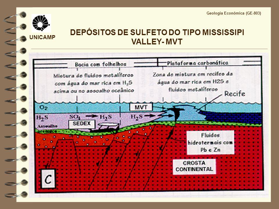 UNICAMP Geologia Econômica (GE-803) DEPÓSITOS DE SULFETO DO TIPO MISSISSIPPI VALLEY- MVT DISSOLUÇÃO E BRECHAÇÃO Dolomitização, redução de sulfato (evaporitos) e geração de ácido 2 CaSO 4 + Mg 2+ + 2CH 4 = CaMg(CO 3 ) 2 + Ca 2+ +2 H 2 S + 2 H + gipsita dolomita Mineralização e geração de ácido Zn + + H 2 S = ZnS + 2H + esfalerita