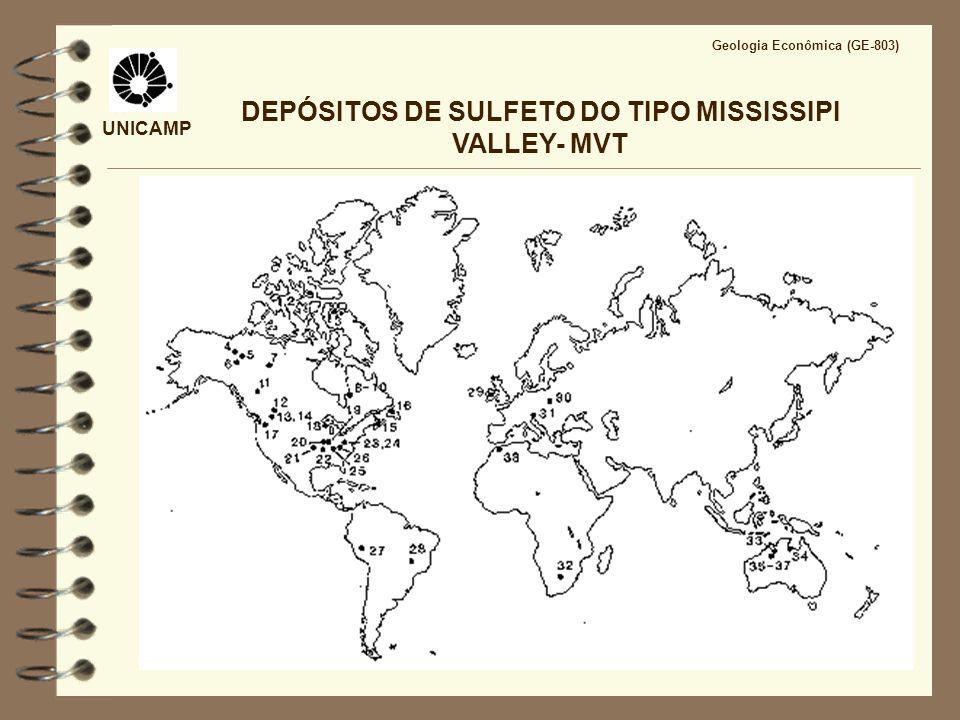 UNICAMP Geologia Econômica (GE-803) DEPÓSITOS DE SULFETO DO TIPO MISSISSIPPI VALLEY- MVT Salmouras metalíferas: Salinidade entre 10 e 30% peso eq.
