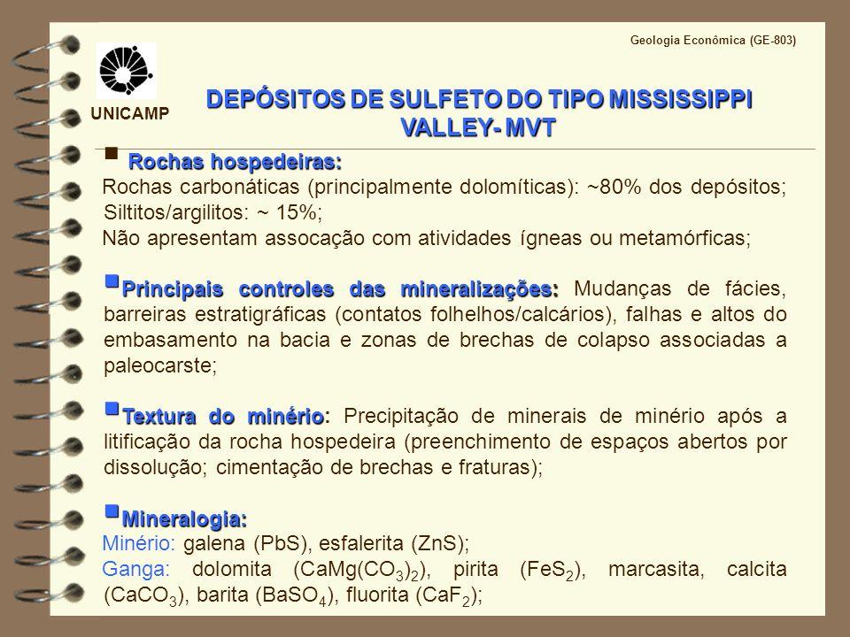 UNICAMP Geologia Econômica (GE-803) DEPÓSITOS DO TIPO MISSISSIPPI VALLEY- MVT Alteração hidrotermal: dolomitização, brechação, dissolução, silicificação