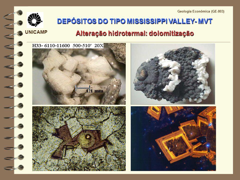 UNICAMP Geologia Econômica (GE-803) DEPÓSITOS DO TIPO MISSISSIPPI VALLEY- MVT Mineralização epigenética Texturas: Texturas: crustiforme, coloforme, botrioidal, snow-on-roof, zebra