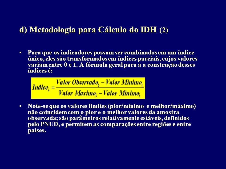 d) Metodologia para Cálculo do IDH (2) Para que os indicadores possam ser combinados em um índice único, eles são transformados em índices parciais, c