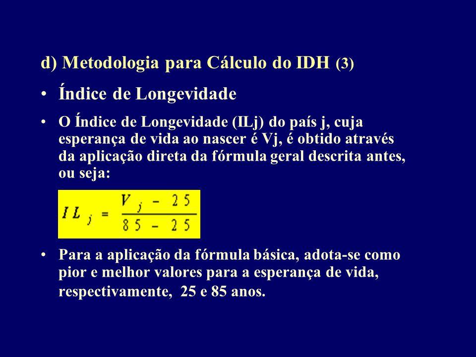 d) Metodologia para Cálculo do IDH (3) Índice de Longevidade O Índice de Longevidade (ILj) do país j, cuja esperança de vida ao nascer é Vj, é obtido