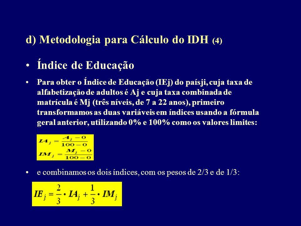 d) Metodologia para Cálculo do IDH (4) Índice de Educação Para obter o Índice de Educação (IEj) do paísji, cuja taxa de alfabetização de adultos é Aj