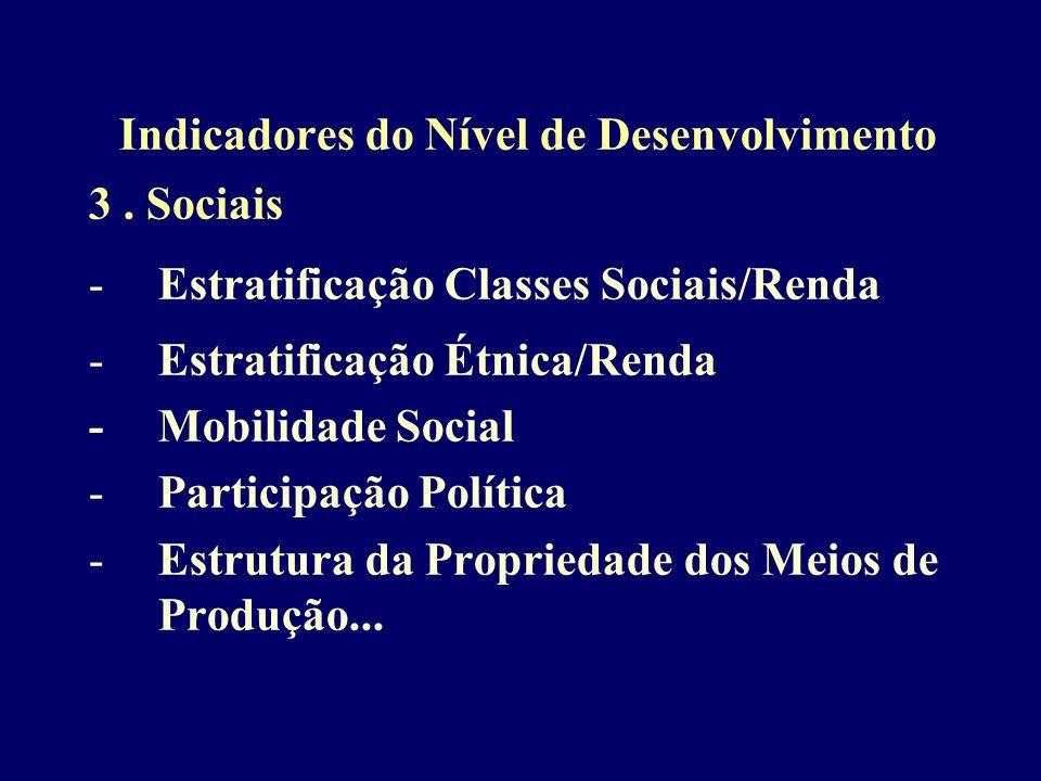 Indicadores do Nível de Desenvolvimento 3. Sociais -Estratificação Classes Sociais/Renda -Estratificação Étnica/Renda - Mobilidade Social -Participaçã