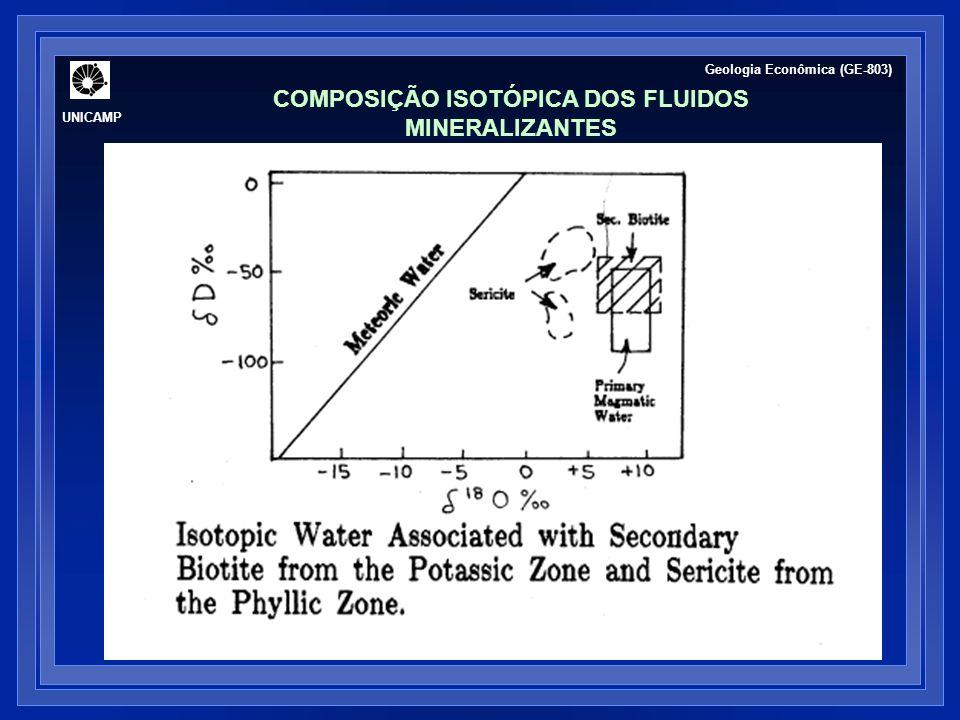 UNICAMP Geologia Econômica (GE-803) COMPOSIÇÃO ISOTÓPICA DOS FLUIDOS MINERALIZANTES