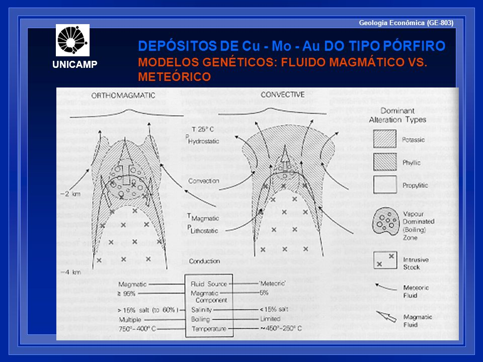 UNICAMP Geologia Econômica (GE-803) DEPÓSITOS DE Cu - Mo - Au DO TIPO PÓRFIRO MODELOS GENÉTICOS: FLUIDO MAGMÁTICO VS. METEÓRICO