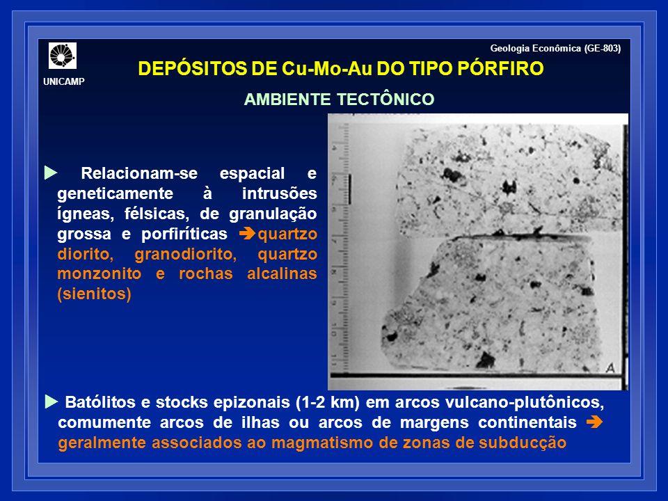DEPÓSITOS DE Cu-Mo-Au DO TIPO PÓRFIRO UNICAMP Geologia Econômica (GE-803) Relacionam-se espacial e geneticamente à intrusões ígneas, félsicas, de granulação grossa e porfiríticas quartzo diorito, granodiorito, quartzo monzonito e rochas alcalinas (sienitos) Batólitos e stocks epizonais (1-2 km) em arcos vulcano-plutônicos, comumente arcos de ilhas ou arcos de margens continentais geralmente associados ao magmatismo de zonas de subducção AMBIENTE TECTÔNICO