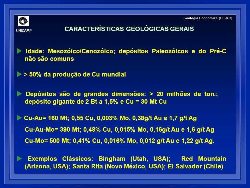 Depósitos são de grandes dimensões: > 20 milhões de ton.; depósito gigante de 2 Bt a 1,5% e Cu = 30 Mt Cu Cu-Au= 160 Mt; 0,55 Cu, 0,003% Mo, 0,38g/t Au e 1,7 g/t Ag Cu-Au-Mo= 390 Mt; 0,48% Cu, 0,015% Mo, 0,16g/t Au e 1,6 g/t Ag Cu-Mo= 500 Mt; 0,41% Cu, 0,016% Mo, 0,012 g/t Au e 1,22 g/t Ag.