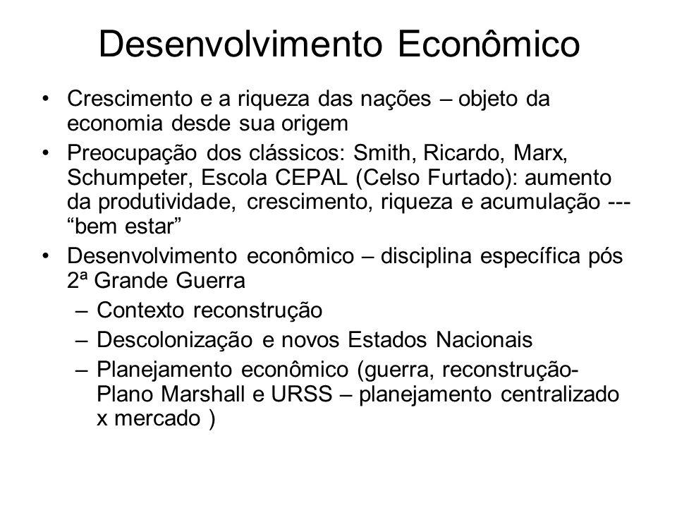 Desenvolvimento Econômico Crescimento e a riqueza das nações – objeto da economia desde sua origem Preocupação dos clássicos: Smith, Ricardo, Marx, Sc