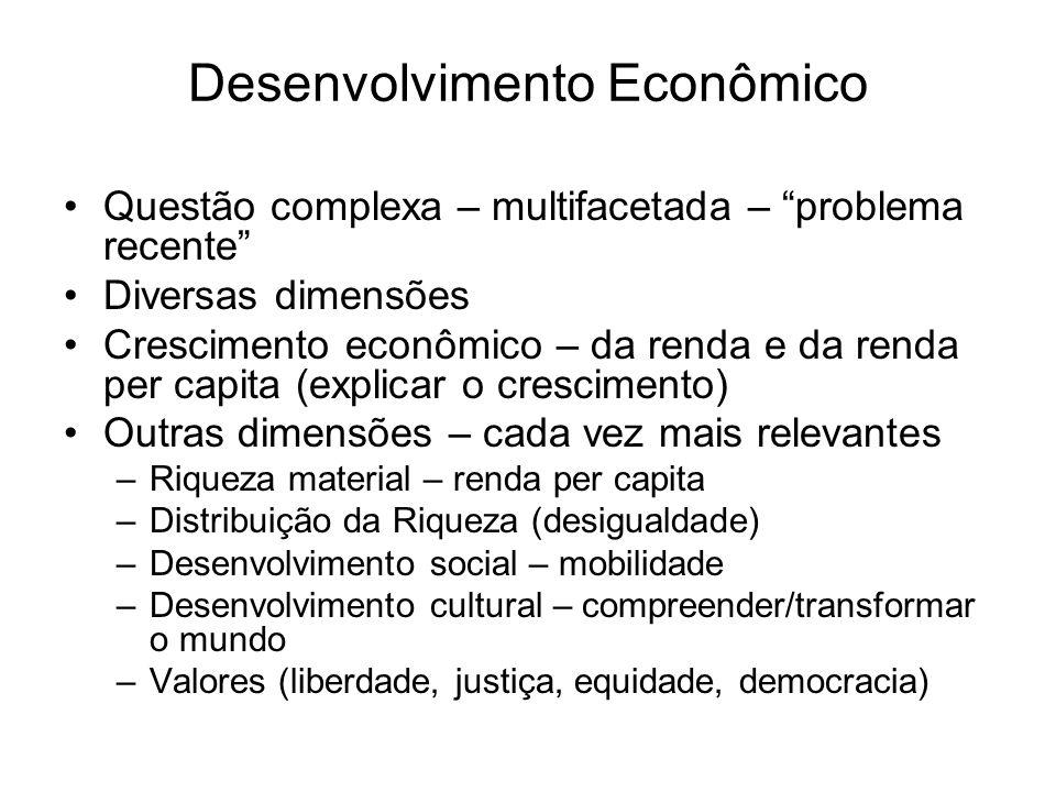 Desenvolvimento Econômico Questão complexa – multifacetada – problema recente Diversas dimensões Crescimento econômico – da renda e da renda per capit