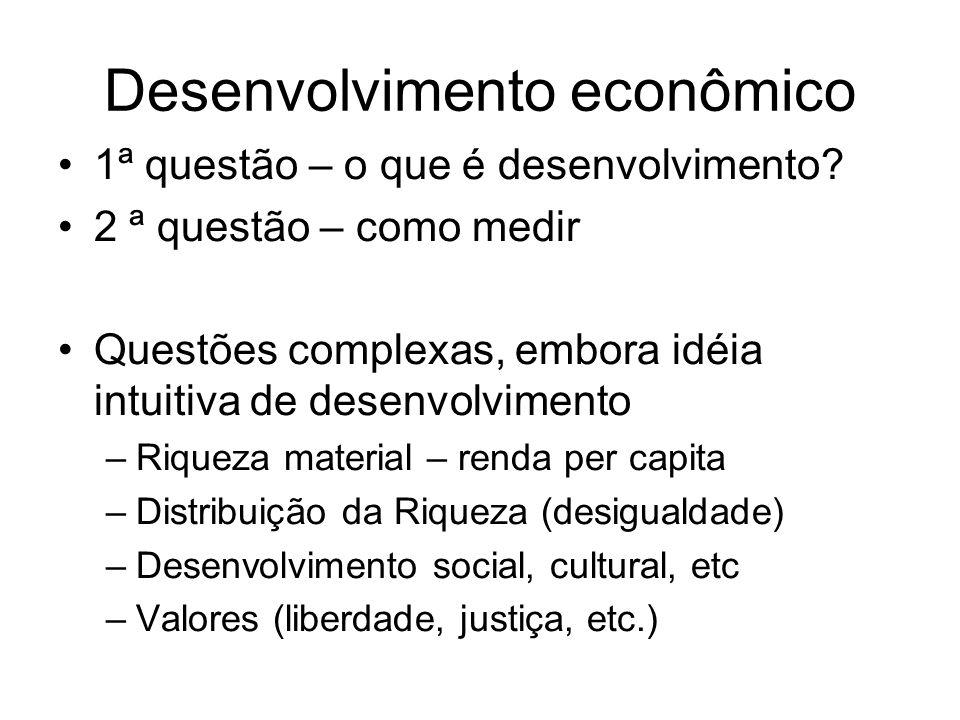 Desenvolvimento econômico 1 ª questão – o que é desenvolvimento? 2 ª questão – como medir Questões complexas, embora idéia intuitiva de desenvolviment