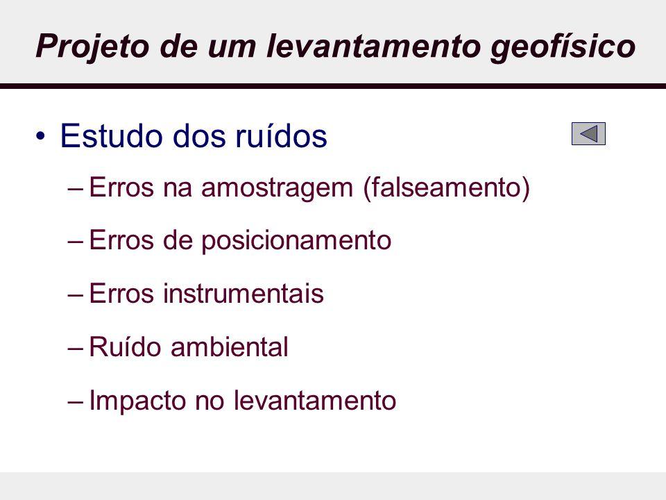 Projeto de um levantamento geofísico Estudo dos ruídos –Erros na amostragem (falseamento) –Erros de posicionamento –Erros instrumentais –Ruído ambiental –Impacto no levantamento