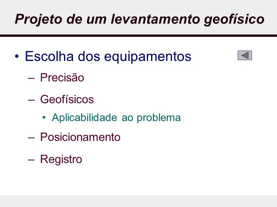 Projeto de um levantamento geofísico Escolha dos equipamentos – Precisão – Geofísicos Aplicabilidade ao problema – Posicionamento – Registro