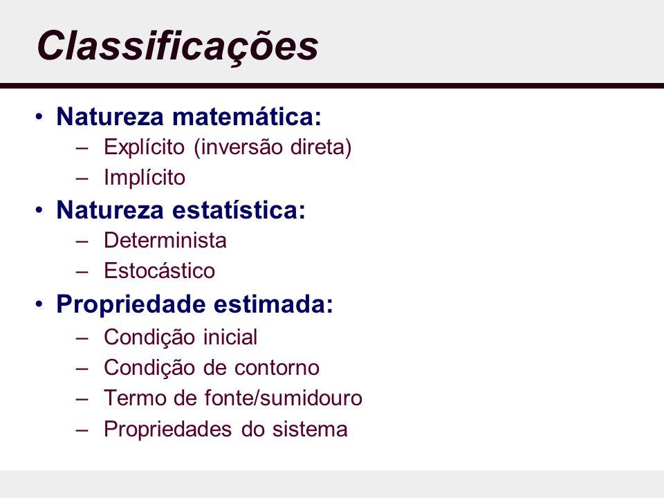 Classificações Natureza matemática: –Explícito (inversão direta) –Implícito Natureza estatística: –Determinista –Estocástico Propriedade estimada: –Condição inicial –Condição de contorno –Termo de fonte/sumidouro –Propriedades do sistema