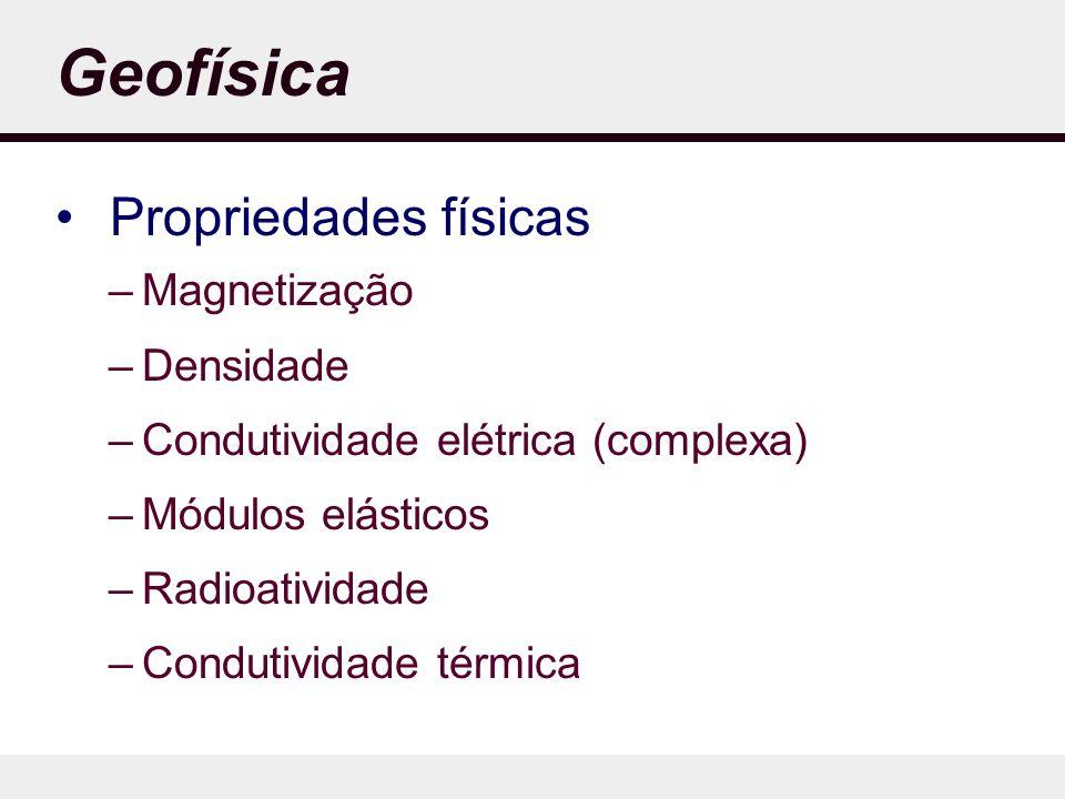 Geofísica Propriedades físicas –Magnetização –Densidade –Condutividade elétrica (complexa) –Módulos elásticos –Radioatividade –Condutividade térmica