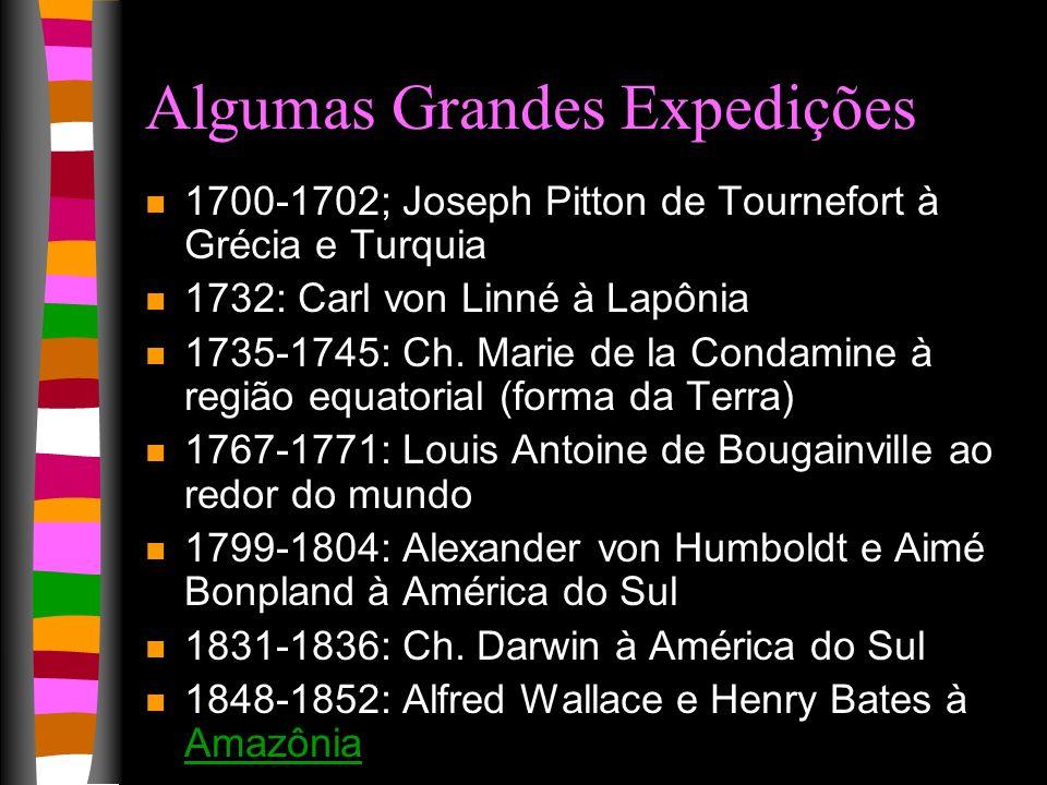 Algumas Grandes Expedições n 1700-1702; Joseph Pitton de Tournefort à Grécia e Turquia n 1732: Carl von Linné à Lapônia n 1735-1745: Ch. Marie de la C