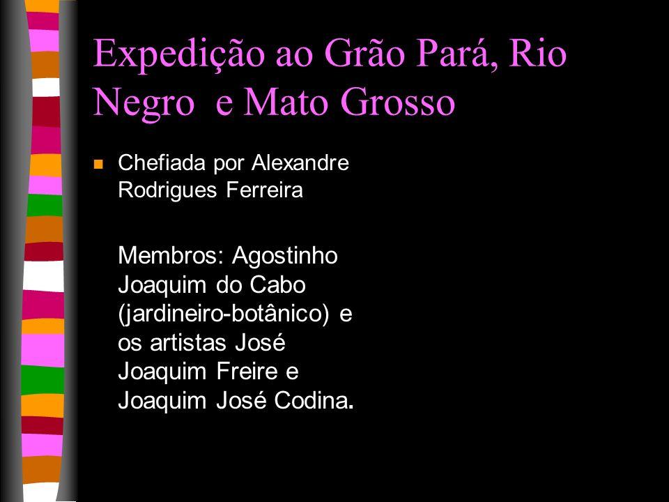 Viagem a Goa & Moçambique n Chefiada por Manoel Galvão da Silva n Membros: José da Costa (jardineiro- botânico) e Antônio Gomes (escrevente)